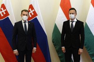 Maďarský minister zahraničných vecí Péter Szijjártó (vpravo) a slovenský podpredseda vlády a minister financií Igor Matovič.