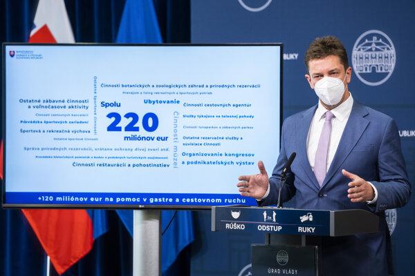 Minister dopravy Andrej Doležal pri predstavovaní pomoci pre gastro a cestovný ruch 7. apríla 2021.