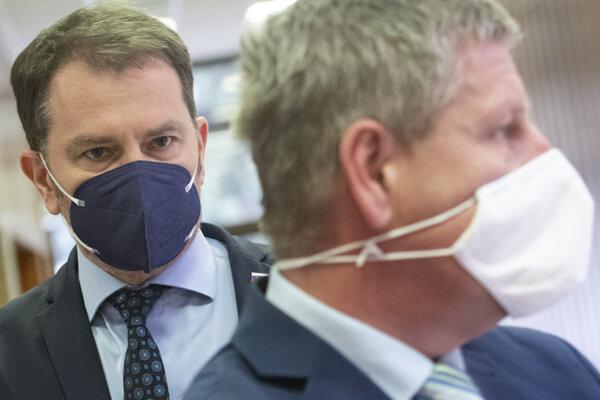 Minister financií Igor Matovič (OĽaNO) a minister zdravotníctva Vladimír Lengvarský (nom. OĽaNO)