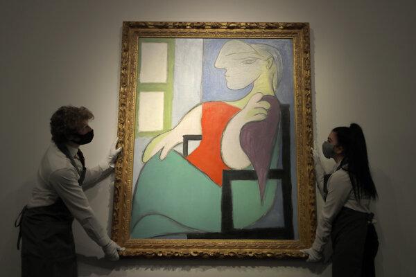 """Picassova maľba z roku 1932 s názvom """"Žena sediaca pri okne (Marie-Thérèse)."""