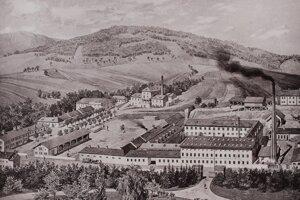 Dobová veduta s nábytkárskou fabrikou vo Veľkých Uherciach. Zdroj: Fond Hornonitrianskeho múzea v Prievidzi