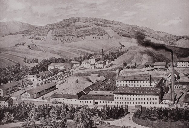 Dobová veduta s nábytkárskou fabrikou vo Veľkých Uherciach. Zdroj: Fond Hornonitrianskeho múzea v Prievidzi.