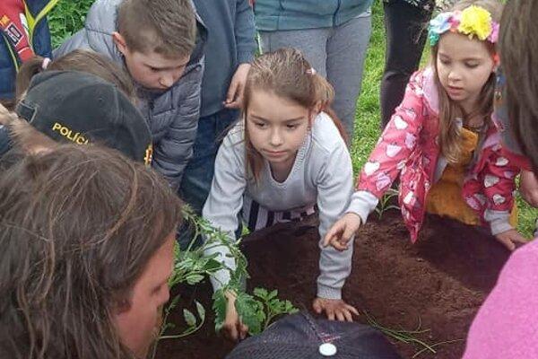 Deti na Bystričke sa učili sadiť pod vedením skúsených záhradkárov.
