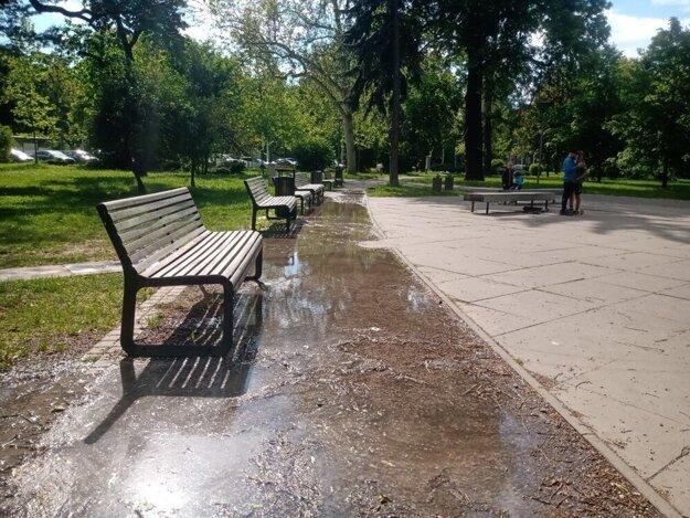 Voda z upchatej fontány opustila svoj bazén.