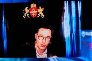 Primátor Budapešti Gergely Karácsony počas panelovej diskusie na tému: Storočie miest v rámci medzinárodnej konferencie Globsec 2020 Bratislava Forum s heslom Uzdravme svet spoločne.