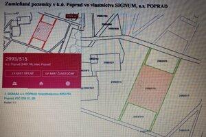 Nákres časti zamieňaných pozemkov v katastri Popradu, ktoré sú v súkromnom vlastníctve.