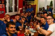 Postupové oslavy hráčov TJ Slovan Tomášovce