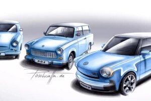 Trabant P50 (1957), Trabant 601 (1963) a Trabant nT (2009) na skici od Nilsa Poschwattu.