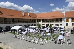 Slávnostné otvorenie zrekonštruovaného kaštieľa v obci Borša v okrese Trebišov.