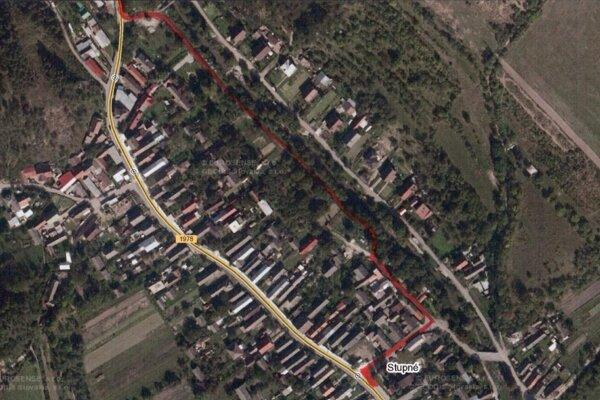 Obchádzková trasa v obci Stupné vyznačená na mape