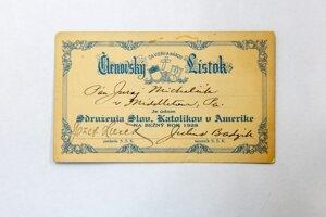 Členský lístok. Združenie Slovenských Katolíkov v Amerike na bežný rok 1928.