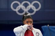 Americká gymnastka Simone Bilesová na OH v Tokiu 2020.