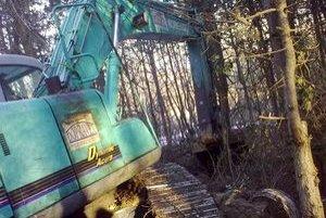 Pracovný stroj poškodil ešte vo februári sedemnásť stromov. Polícia dodnes prípad neuzvarela.