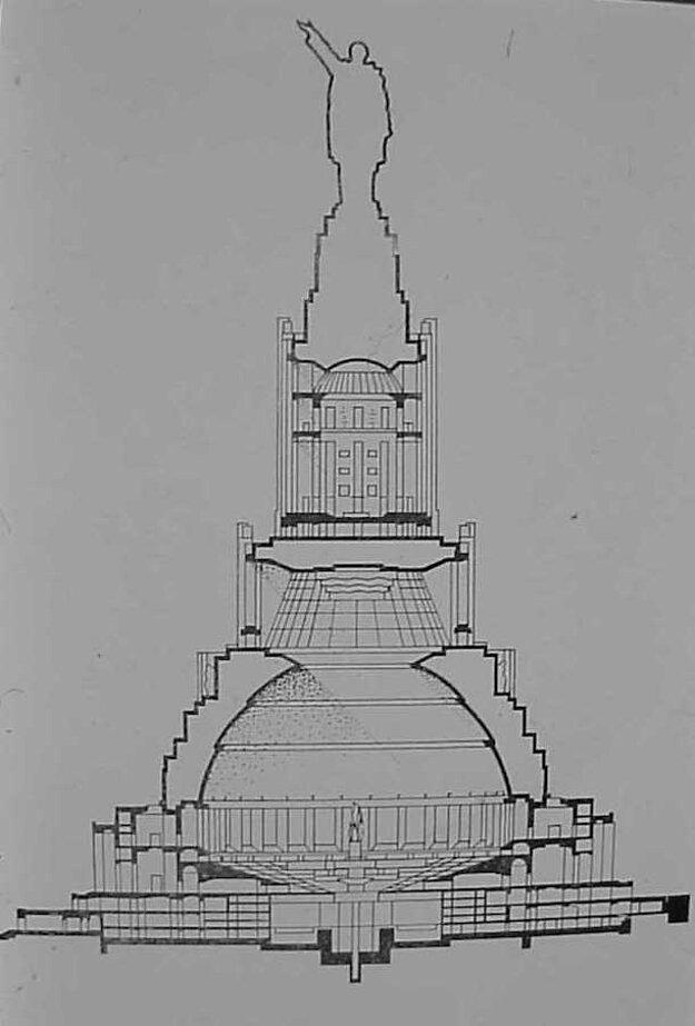 Jeden z náčrtov plánu Paláca sovietov.