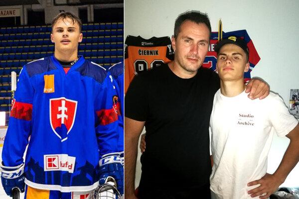 Alex Čiernik v reprezentačnom drese a doma na snímke s otcom Ivanom.