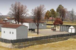 Hypotetická rekonštrukcia usadlosti typu Villa rustica, preskúmaná pri stavbe diaľnice D2