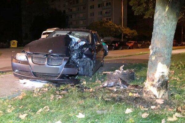 Auto zastavil strom.