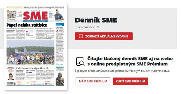 Denník SME v PDF verzii