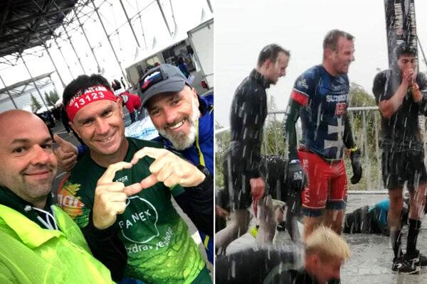Na prvej snímke zľava Michal Kéry, Rastislav Chren a Vincent Sýkora. Vpravo je Bratislavčan v nepriaznivých podmienkach počas nedeľňajších pretekov.