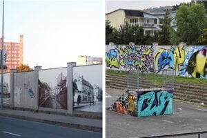 Múr na Okružnej ulici je pomaľovaný z oboch strán a prepája dva svety.
