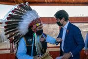 Justin Trudeau pri návšteve mesta Kamloops.