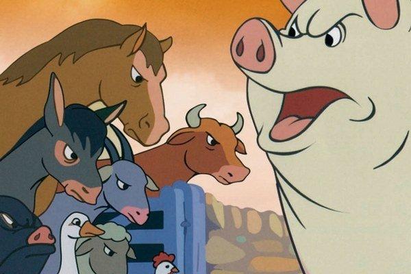 Vo filme Farma zvierat sa vzbúria proti ľuďom.