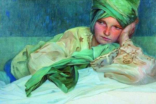 Zamyslené ležiace dievča s turbanom, 1926.