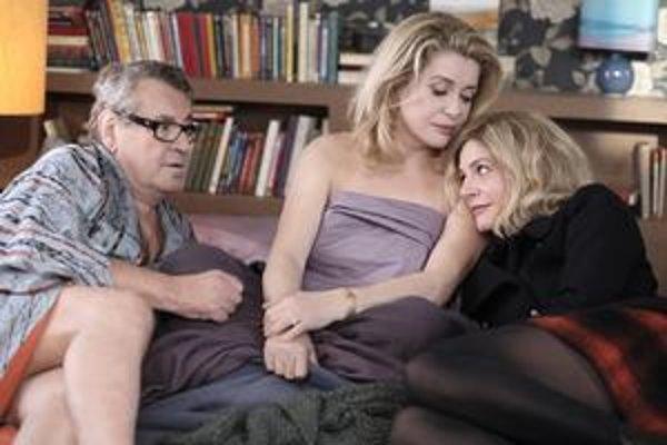Miloš Forman, Catherine Deneuve a Chiara Mastroianni vo filme Milovaní.