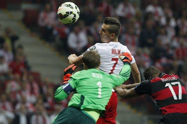 Arkadiusz Milik dáva Nemcom gól.