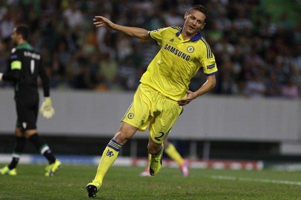 Nemanja Matič po tom, ako strelil gól na ihrisku Sportingu Lisabon.