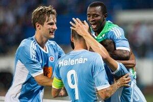 Takto sa hráči Slovana tešili z gólu v domácom zápase.