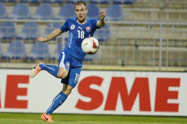 Erik Jendrišek v prípravnom zápase Slovensko - Čierna Hora 23. mája v Senci.