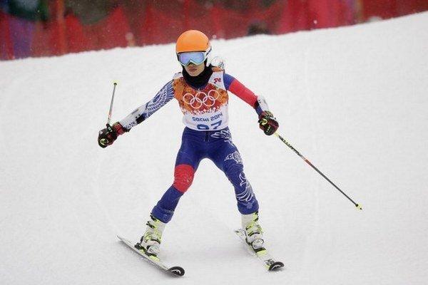 Vanessa Mae počas olympijskych pretekov.