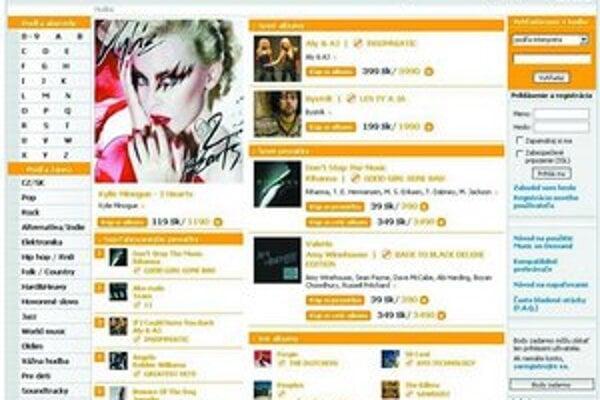 Obchod s hudbou v roku 2007 na Slovensku:  portál T.Station, dole objednávkový formulár webu Slnko records.