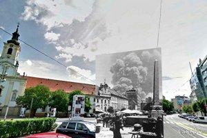 Dym zo zbombardovanej rafinérie Apollky 16. júna 1944 bolo vidno aj z námestia SNP, vtedajšieho Marktplatzu.