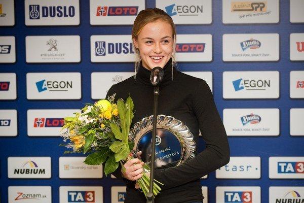 Anna Karolína Schmiedlová počas vyhlásenia výsledkov Tenista roka 2012 v Bratislave.