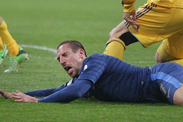 Franck Ribéry sa v dvojzápase s Ukarajinou zranil a Bayernu nepomôže.