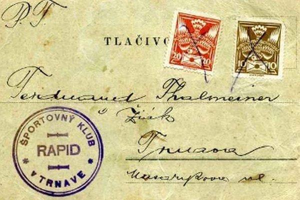 Korešpondenčný lístok, ktorým pozýval športový klib Rapid Ferdinanda Thalmeinera na schôdzu.