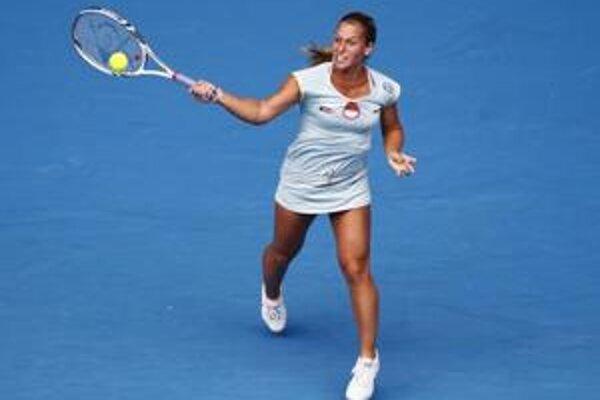Dominika Cibulková v zápase s Caroline Wozniackou.