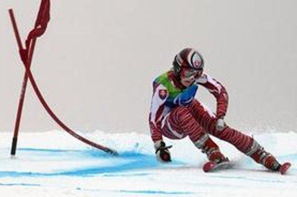 Petra Smaržová počas prvého kola obrovského slalomu, ktorý jej nakoniec priniesol bronzovú medailu.
