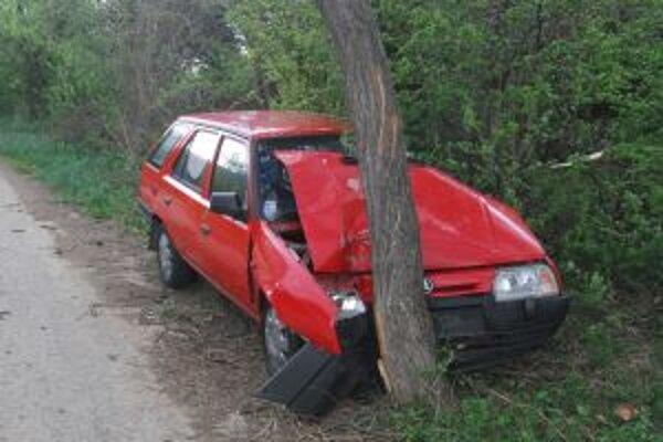 Opitá Novomešťanka zničila nárazom do stromu staršie auto.