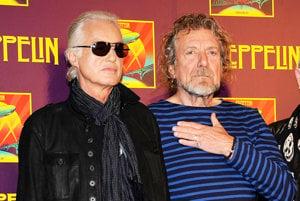 Gitarista Jimmy Page a spevák Robert Plant.