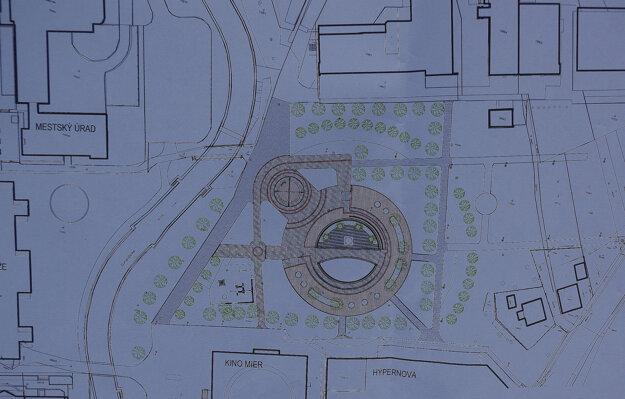 Projekt úpravy fontány a jej okolia.