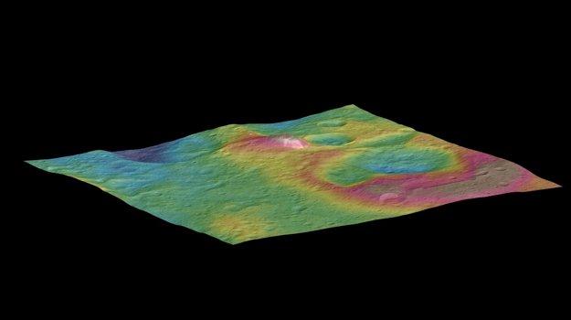 Šesťkilometrová hora stúpajúca z povrchu Ceresu.