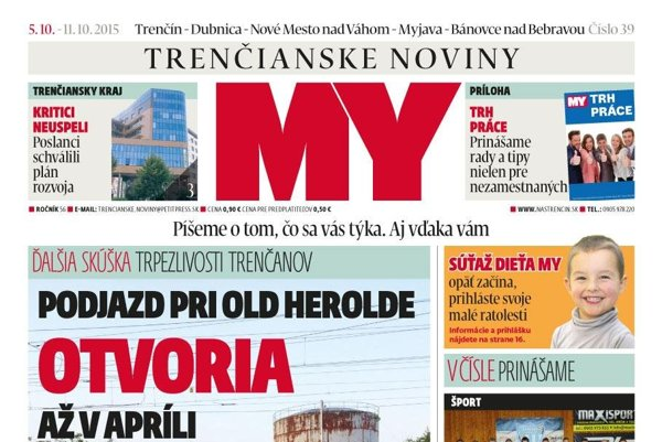 Titulka 39. čísla MY Trenčianske noviny