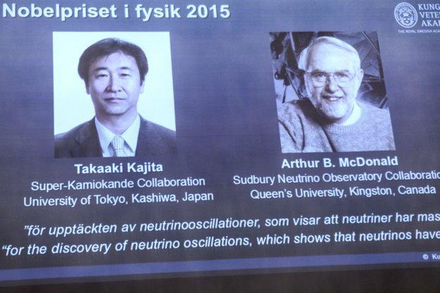 Takaaki Kadžita a Arthur McDonald získali Nobelovu cenu za fyziku v roku 2015.