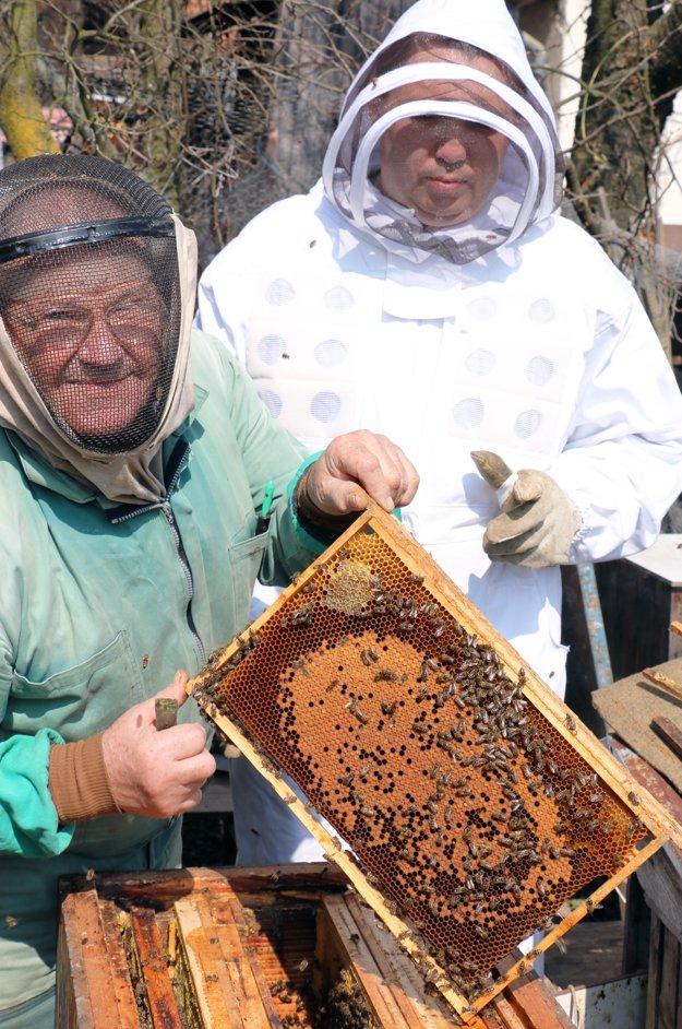 Ľudovít Harbut (vľavo) úle po zime kontroloval so synom Pavlom.