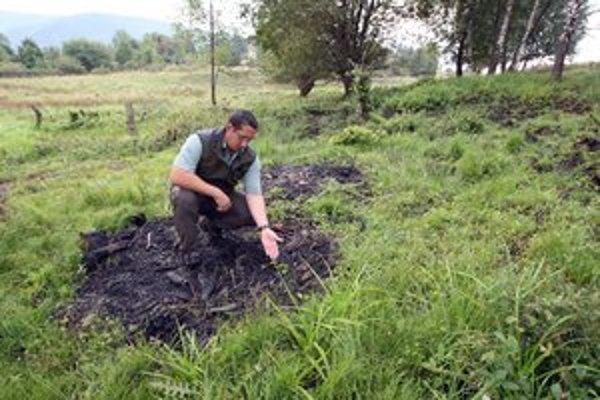 Strážca prírody Jaroslav Slašťan ukazuje spálenisko, ktoré zostalo po robotníkoch.