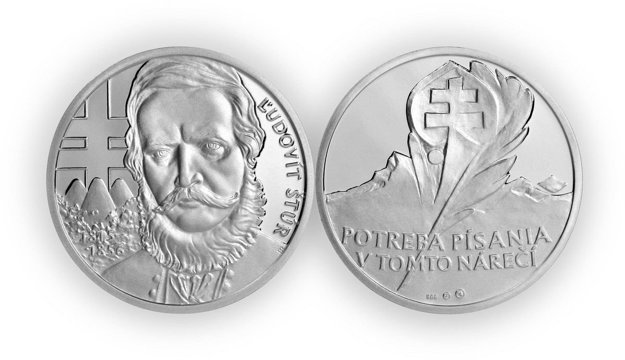 Medaila s motívom Štúra.