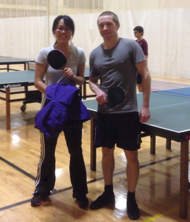 Na stolný tenis nezanevrel ani v USA Po tréningu s Dr. Christy Wang.
